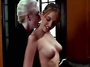 Beautiful lezzie gets hard dildoing