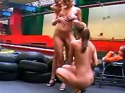 Young chicks first try lesbian sex in workshop