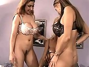 Busty lesbians have fun in groupsex