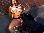 Lezzie fucks tied up girl w dildo