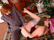 Lesbian gal in male suit having rubber rod in her trousers for ass-drilling