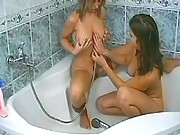 Cute and naughty lesbians play games