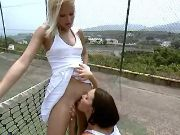 Lesbo teen tennis players lick each other on court