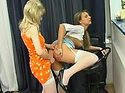 Anal entertainment with steamy lesbian babes playing with enormous strap-on